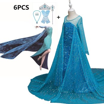 цена на New Cosplay Princess Anna Elsa 2 Girls Dress Kids Dresses for Girls Halloween Party Dresses Snow Queen Children Baby Costume