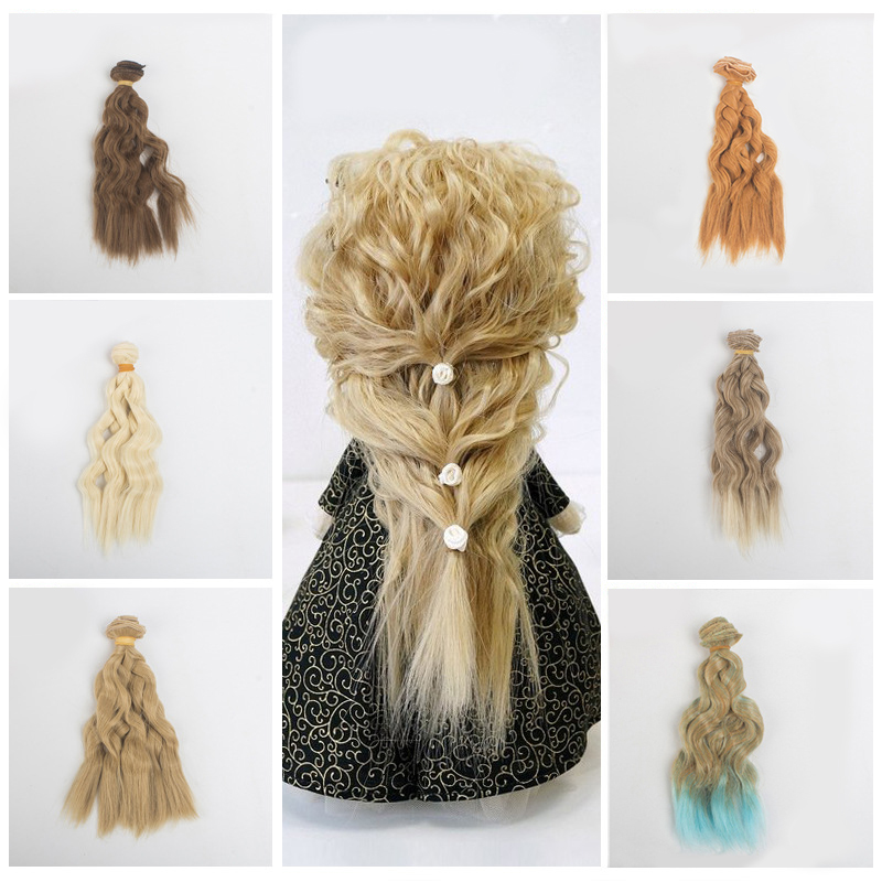 BJD Hair Curly 15CM*100CM BJD WIG For Dolls Synthetic Wig Free Shipping Hair For Dolls Handmade  1/3 1/4 Doll Accessories Toys