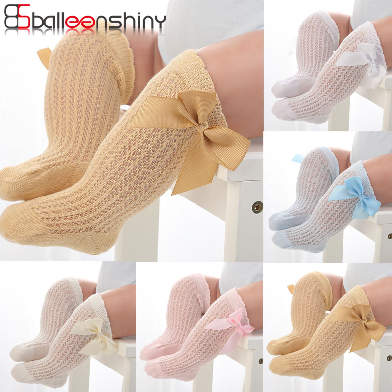 Balleenshiny Lovely Infant Baby Girls Knee High Socks Toddler Kids Tights Leg Warmer Ribbon Bow Solid Cotton Stretch Kids Socks