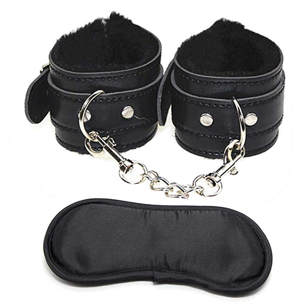 Soft Comfortable PU Fur Leather Handcuffs Wrist Cuffs And Blindfold Eye Mask