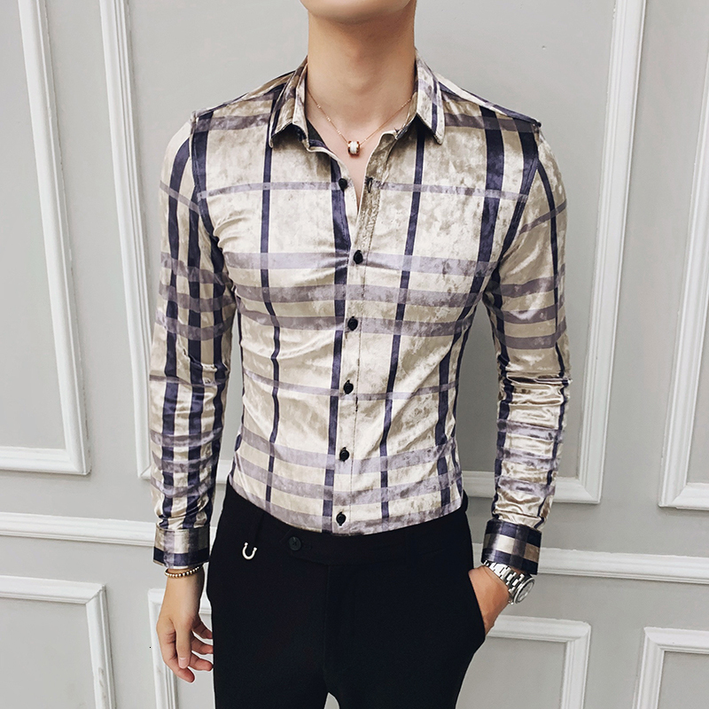 2019 Plaid Shirt Men Casual Slim Fit Shirts Long Sleeve Winter Velour Shirts Men Dress High Quality Social  Business Clothing