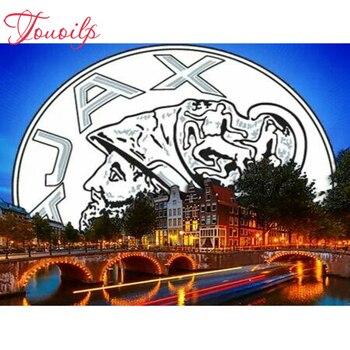 Bordado de diamantes de AJAX completo logotipo del equipo de fútbol de bricolaje cuadro de diamante AJAX Cuadrado y Redondo 3d taladro diamante mosaico icono pasta de la artesanía