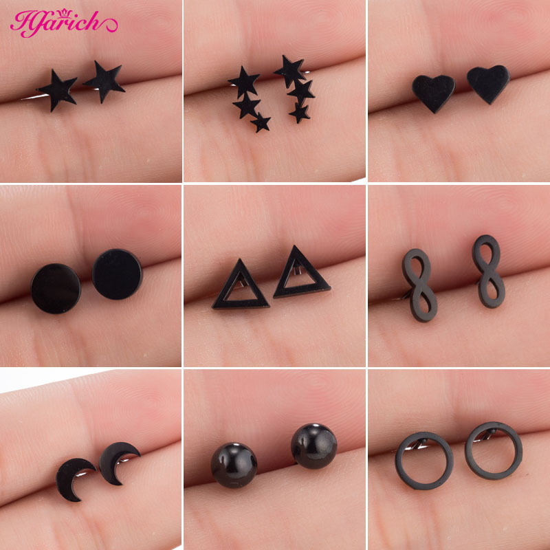 Hfarich Stainless Steel Geometric Stud Earrings For Women Men Black Earrings Small Round Heart Star Ear Piercing Pendients 2019