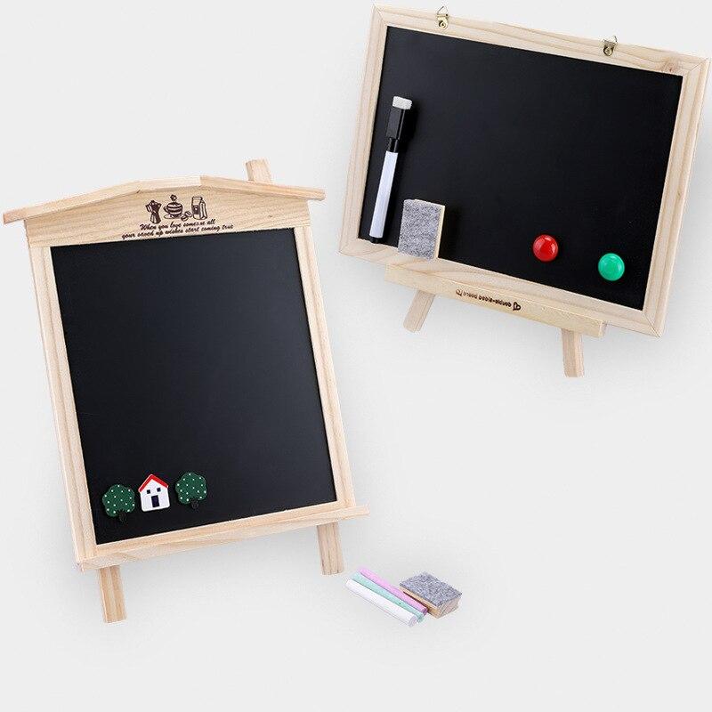 [Cloud Commercial Union] Home Teaching Children Single-side Blackboard Writing Board Wooden Drawing Board-Wipe Chalk
