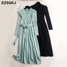 Осенне-зимнее длинное платье-свитер с v-образным вырезом для женщин OL женское длинное платье-свитер с поясом элегантное однотонное тонкое платье трапециевидной формы
