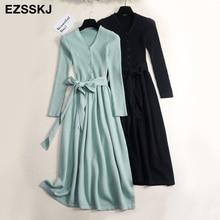 autumn winter v neck maxi sweater dress women OL female long sweater dress with belt elegant a line solid slim dress