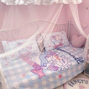 Image 3 - 4 Pcs/set Lovely Anime Unicorn Cinnamoroll Cotton Bedding Set Cartoon Pattern Bedlinens Lattice Duvet Cover Bed Sheet Pillowcase