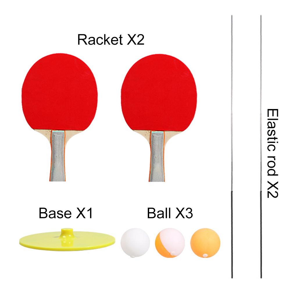 2 Table Tennis Paddle 3 Ping Pong Ball Set Indoor Outdoor Play Elastic Soft Shaft Table Tennis Trainer Elastic Rod