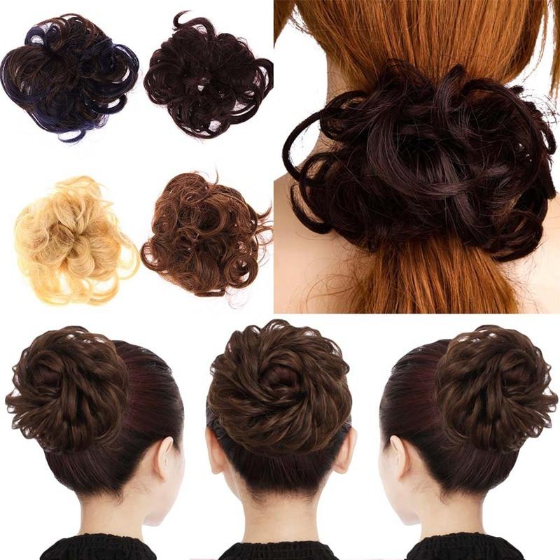 Women Tiara Satin Curly Messy Wavy Hair Bun Extension Elastic Hair Tie Hairpiece Wig Hair Bands Fashion Hair Scrunchie