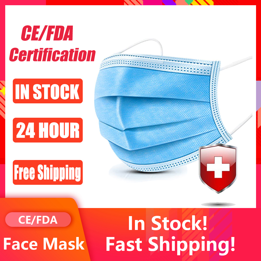 Face Mask Disposable Mask 50 Pcs Safety Protective Mask 3-Ply Anti-Pollution Anti-Dust PM2.5 Nonwoven Elastic Earloop Mouth Mask