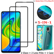 5-in-1, glass case for redmi note 9pro global tempered glass protector note 9 pro max xiaomi note 9 s cover redmi 9s redmi-note9 2 in 1 protective camera lens glass for redmi note 9s 9 s screen protector tempered glass for xiaomi redmi note 9 pro note9 pro
