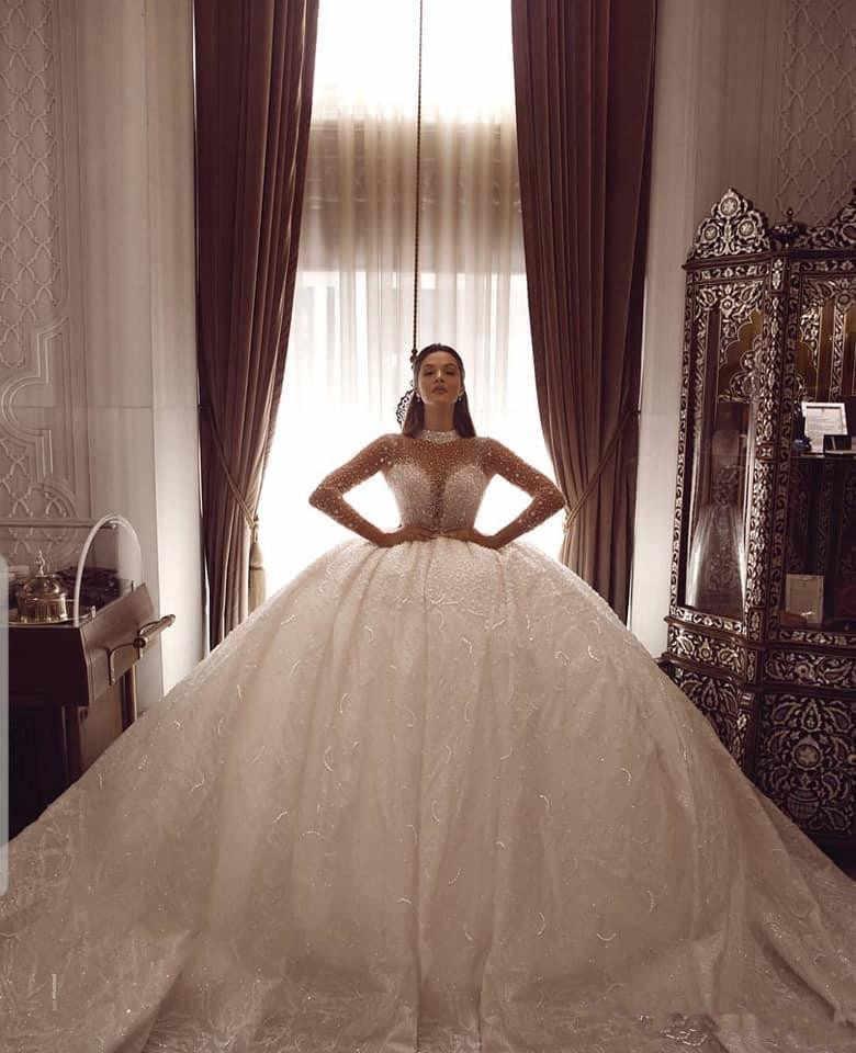 לוקסוס ואגלי כדור שמלת חתונת שמלות ארוך שרוולי קריסטל גבוהה צווארון בתוספת גודל ערבית כלה שמלות בציר Robe דה מארי