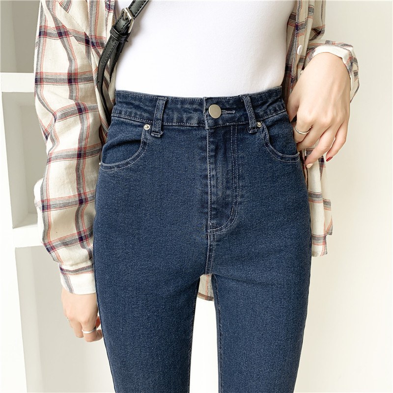 New Jeans Woman 2019 Harajuku AA High Elasticity Jeans Tight Self-cultivation Feet Jeans Europe Thin Waist Jeans
