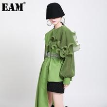 [EAM] Women Green Ruffles Irregular Big Size Blouse New Lapel Long Sleeve Loose Fit Shirt Fashion Tide Spring Autumn 2021 1DA218
