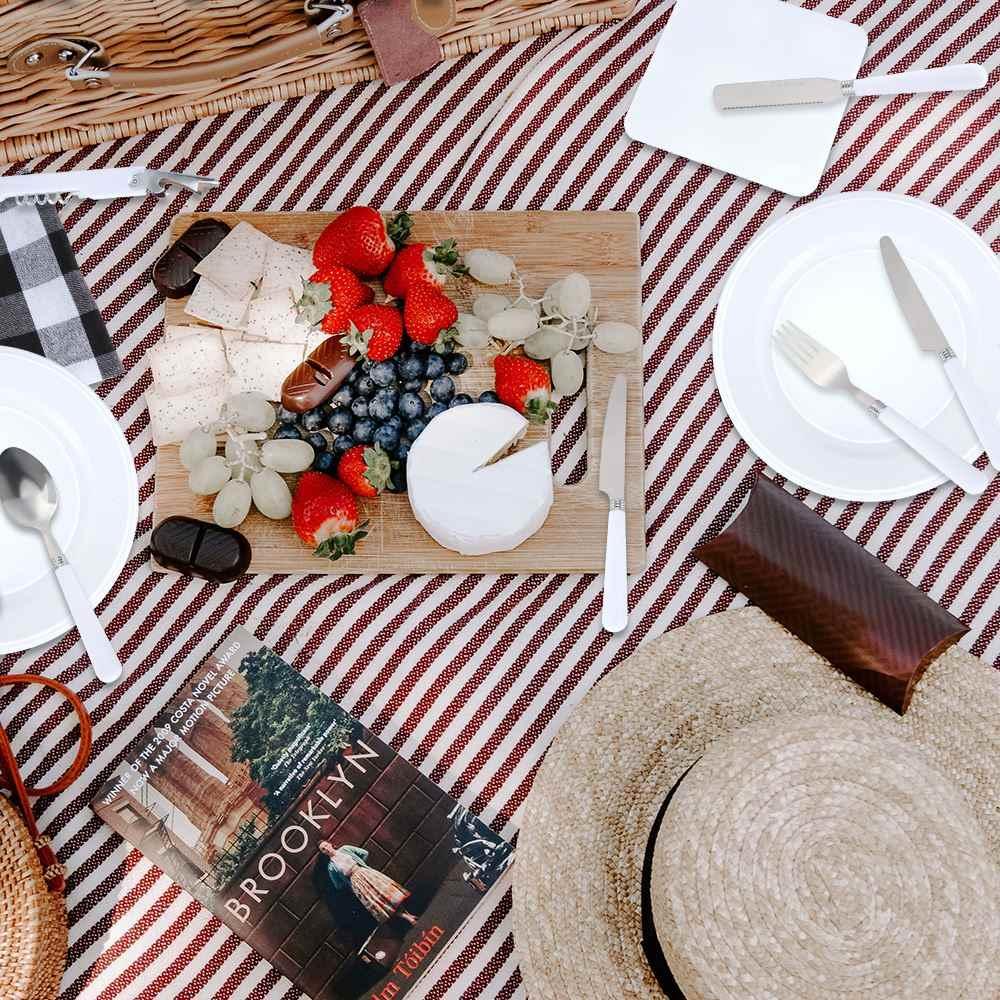 Camping argenterie Kit acier inoxydable plaque cuillère ouvre-vin fourchette serviette en plein air pique-nique cuisine BBQ voyage ustensile pique-nique ensemble