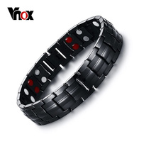 Vnox czarny męski czysty tytan bransoletki magnetyczne zdrowie moc biżuteria sportowa tanie tanio Hologram bransoletki Mężczyźni Tytanu Moda Klasyczny Kamień Link łańcucha Wszystko kompatybilny ROUND health Vnox-TBRM-033