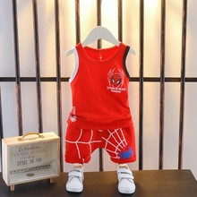 Sleeveless sport suit cotton thin boy vest style summer baby clothes in