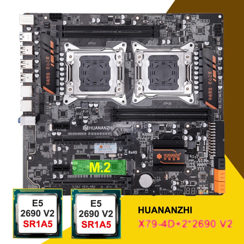 HUANANZHI New X79-4D Motherboard With M.2 Slot Dual LAN Port Discount Dual X79 Motherboard With Dual CPU Xeon E5 2690 V2 3.0GHz