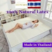 Tajlandia naturalne 100 materac lateksowy Tencel Case japonia mata Tatami kręgu szyjnego 7 strefa ciśnienia ciała Release łóżeczko dla dziecka Mattres