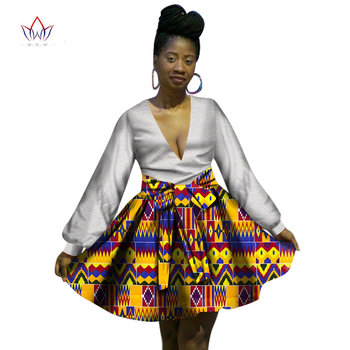 New Designs Two Piece Set Women Dress Suits 2017 Mini Skirt+Lace Tops Dashiki African Print Lace Clothing Women Plus Size WY1032