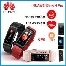 Huawei banda 4 pro gps touchscreen banda inteligente oxigênio no sangue do sono faixa de fitness monitor freqüência cardíaca esporte à prova dwaterproof água pulseira inteligente