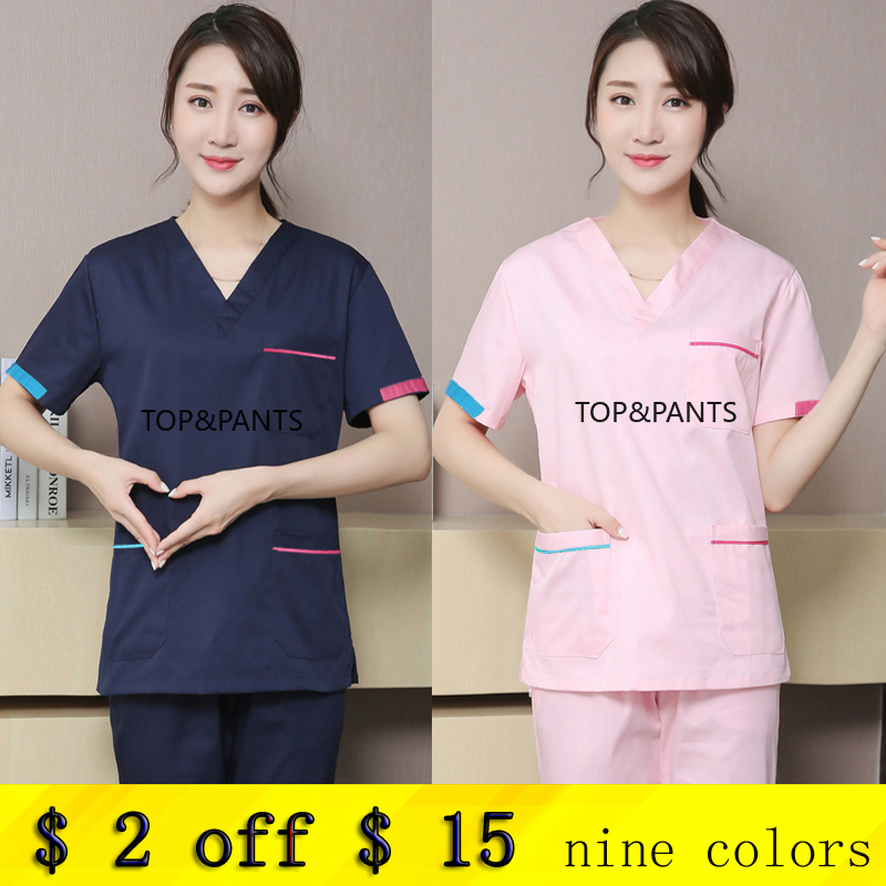 Women's Medical Uniforms Cotton Scrubs Set V Neck Short Sleeve Top+Pants Surgical Doctor Nurse Spa Uniform Hospital Workwear