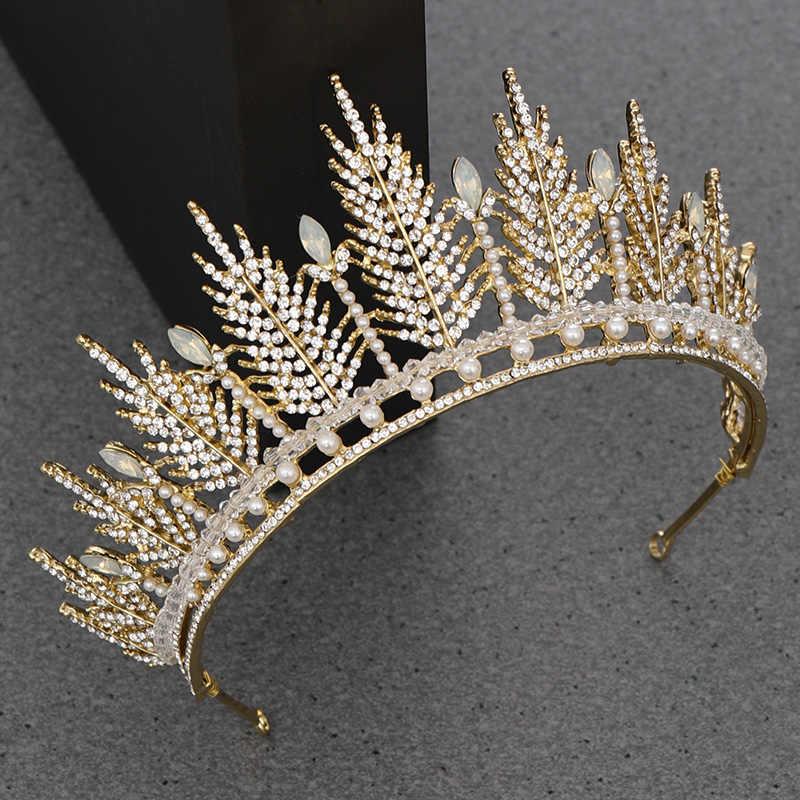 NPASON strass plume perle diadèmes mariée couronne cheveux accessoires doré mariage couronne casque mariée diadème bijoux diadème