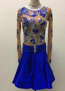 blue customize custom back cutout Rumba cha cha salsa tango Latin dance competition dress with beads - DISCOUNT ITEM  30 OFF Novelty & Special Use