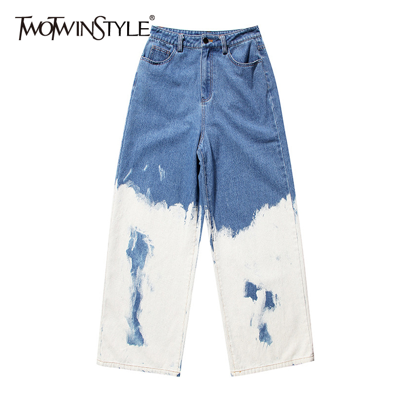 TWOTWINSTYLE Casual Loose Painted Women Full Length Jeans High Waist Hit Color Asymmetrical Denim Wide Leg Pants For Female Tide