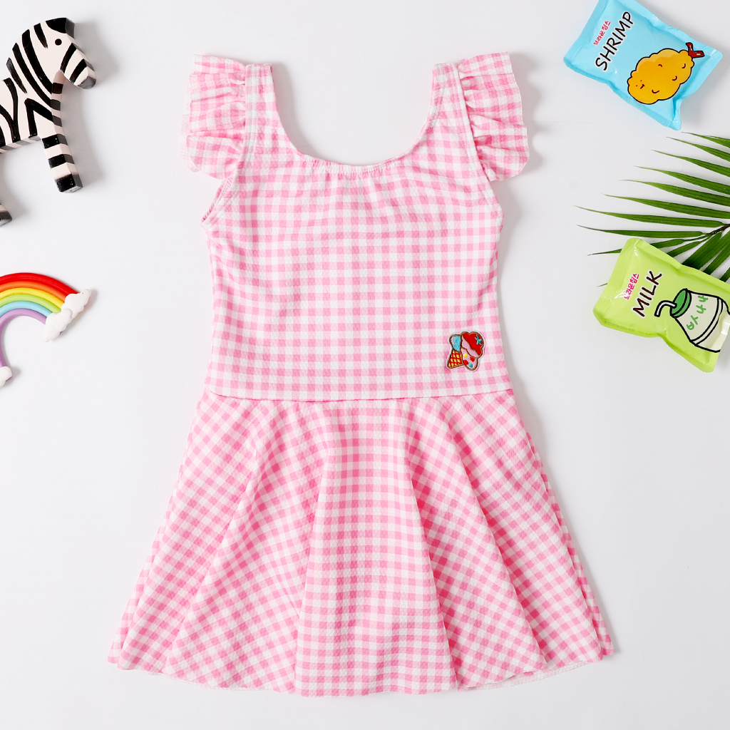 2020 New Baby Girl Swimsuit  Girl Age 2-8 Years Children One Piece Swimwear Pretty Skirt Dress Classic Bathing Suit