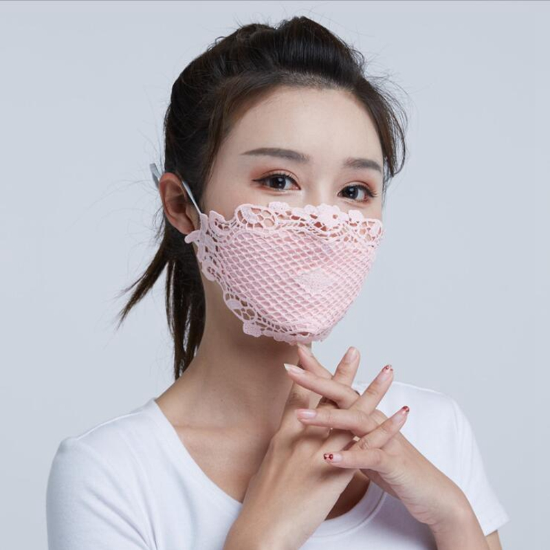 Ice Silk Mask Female Summer Thin Section UV Protection Dustproof Face Breathable Open Nose Sunshade Mask