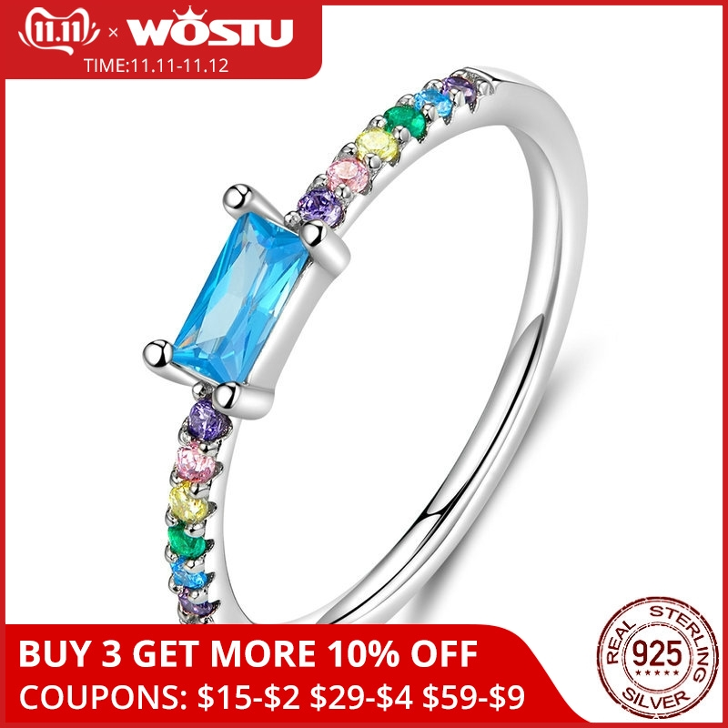 WOSTU Authentic 925 Sterling Silver Colorful Rings For Women Unique Rainbow With Rectangle Blue Zircon Rings Jewelry CQR590