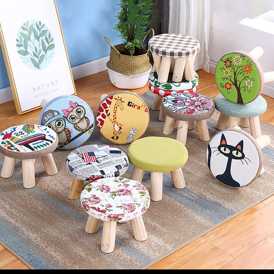 Modern Chair for Children Creative Wood Stools NordicLuxury Upholstered Wooden Footstool with Ottoman Pouf Cotton Wooden Stool