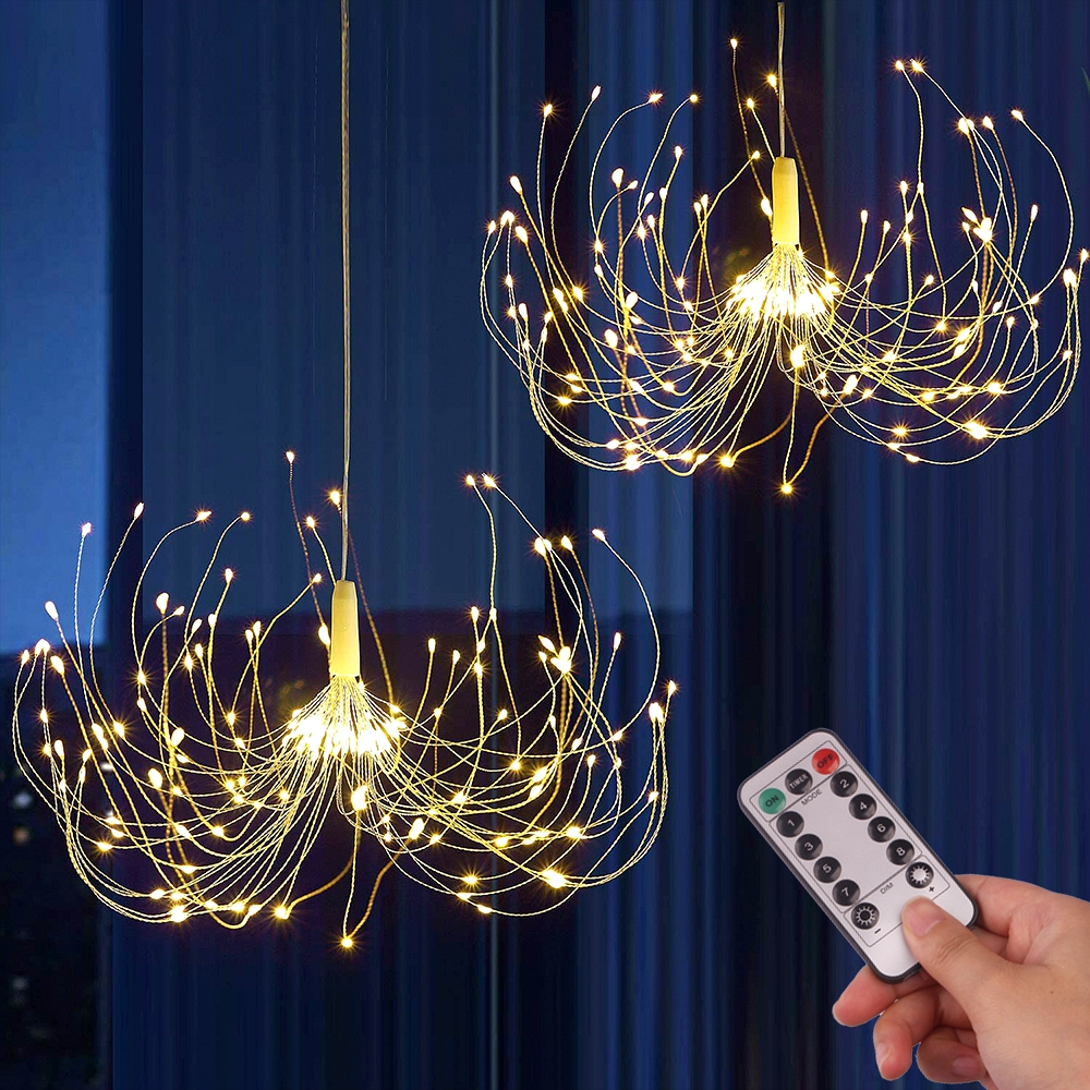 200 LED String Lights Hanging Starburst Lamp DIY Firework Fairy Lights Christmas Garland Festival Decor Remote