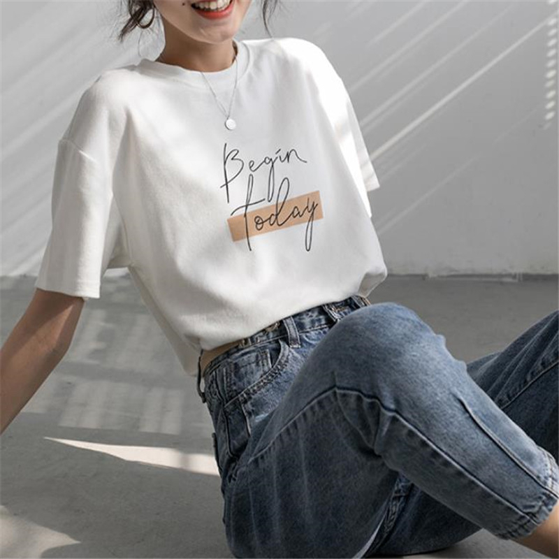 He5d215293930498ba79e3874ad40a5df6 - Letter Women T-Shirt O Neck Short Sleeve Loose Casual Pure Cotton Girls Spring Thick Pullovers Femme Fashion Clothings