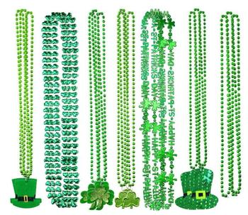 St. Patrick's Day Necklace Shamrock Clover Green Hat Beaded Pendant Necklace Holiday Favors Party Festival DIY Decoration