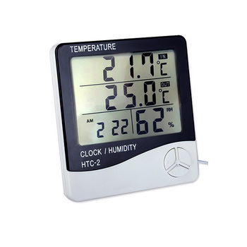 1pcs LCD Electronic Digital Thermometer Hygrometer Outdoor Indoor C / F Thermometer Hygrometer Alarm Clock -1 -2 free shipping temperature alarm indoor and outdoor large screen electronic hygrometer oversized word was high and low temperatur page 3