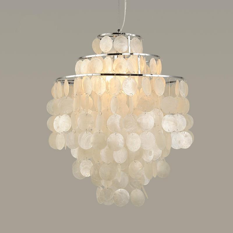 Ikvvt Capiz Shell Chandelier Modern White Natural Seashell Diy Hanglamp For Livingroom Restaurant Parlor Home Decoration Pendant Lights Aliexpress