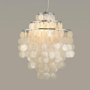 Modern Capiz Shell Pendant Light White Natural Seashell Diy Hanglamp For Livingroom Restaurant Parlor Home Decoration