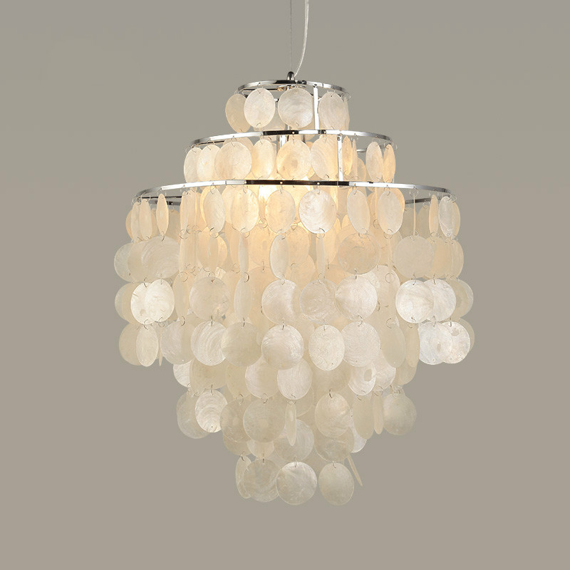 Nordic Shell Pendant Lights Modern White Natural Seashell Diy Hanglamp E14 For Livingroom Restaurant Parlor Home Deco