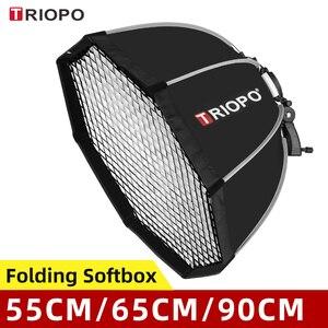 Image 1 - Triopo 55Cm 65Cm 90Cm 120Cm Speedlite Di Động Bát Giác Dù Softbox + Tổ Ong Lưới Ngoài Trời Flash Mềm Mại hộp Cho Canon Godox