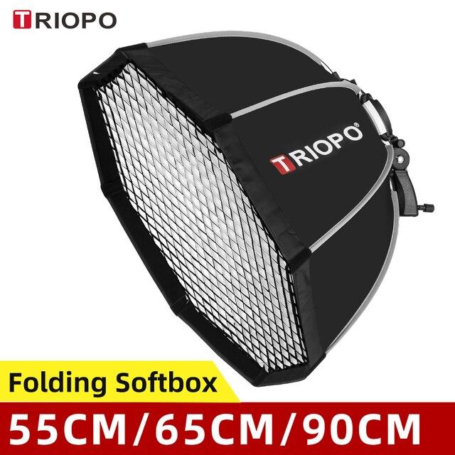 Triopo 55Cm 65Cm 90Cm 120Cm Speedlite Di Động Bát Giác Dù Softbox + Tổ Ong Lưới Ngoài Trời Flash Mềm Mại hộp Cho Canon Godox