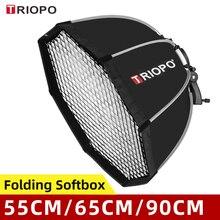 Triopo 55cm 65cm 90cm 120cm Speedlite נייד אוקטגון אמברלה Softbox + כוורת רשת חיצוני פלאש רך תיבת עבור Canon Godox