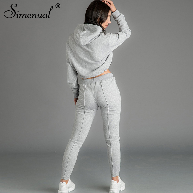 Simenual Casual Lounge Wear Women Two Piece Set Fashion 2019 Autumn Workout Sporty Outfits Long Sleeve Crop Top And Pants Sets in Women 39 s Sets from Women 39 s Clothing