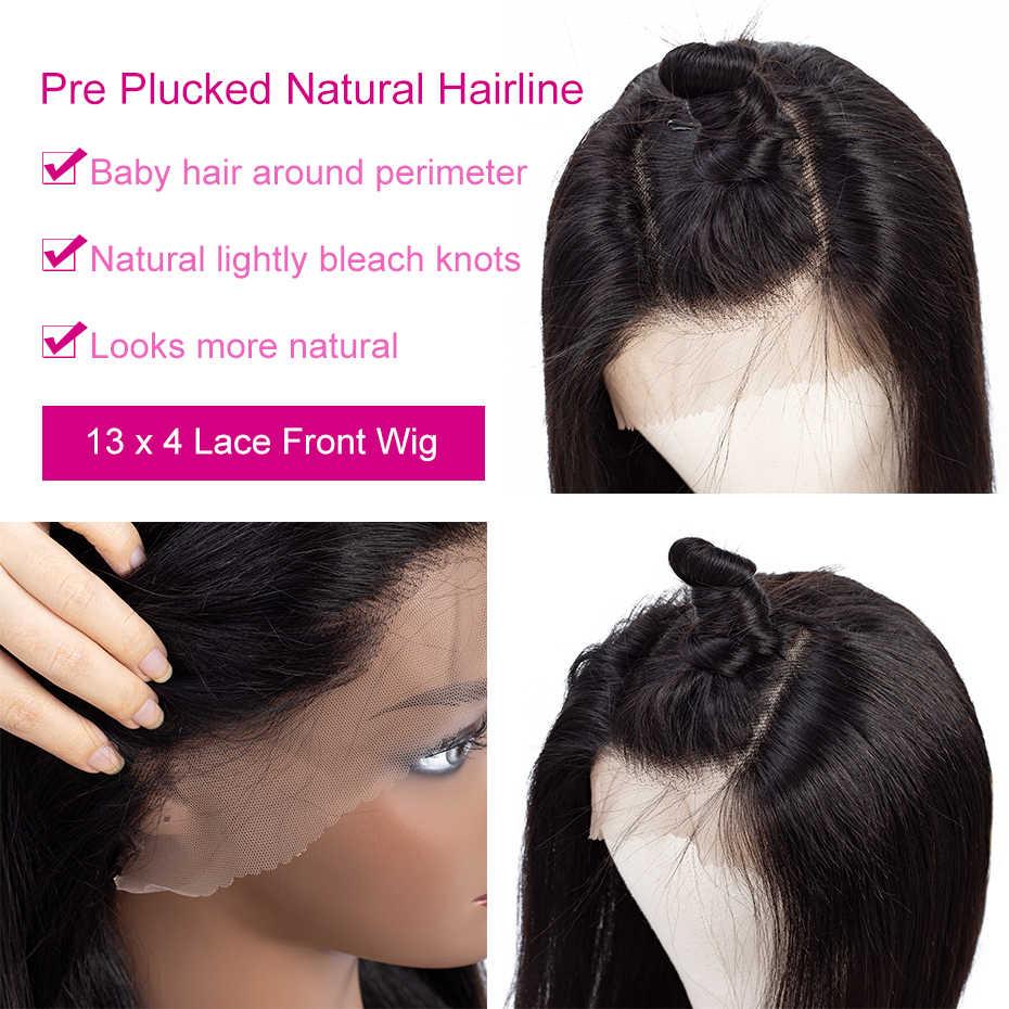 Piaoyi 4*4 dantel kapatma peruk brezilyalı düz dantel ön İnsan saç peruk ön koparıp kadınlar için 150% yoğunluk remy saç 10-24 inç