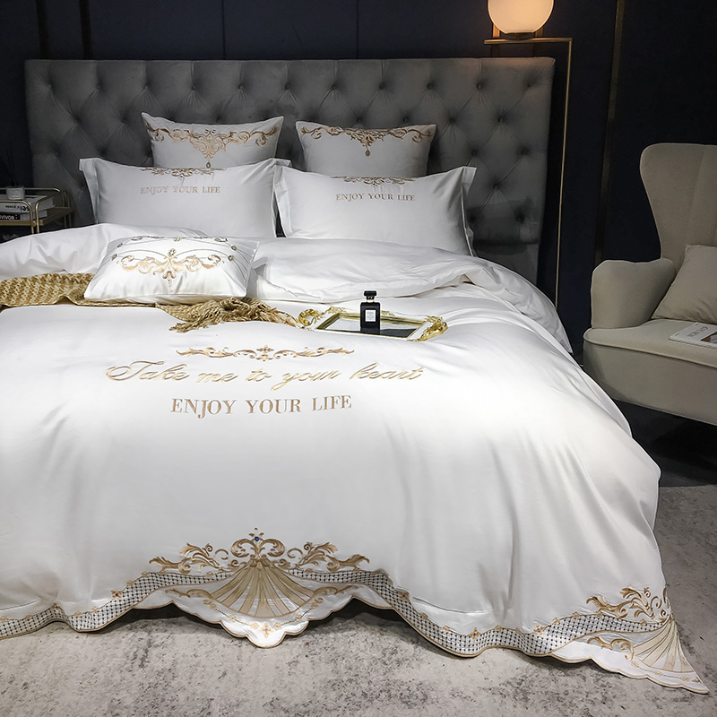 New Luxury White 600TC Egyptian Cotton Royal Embroidery Palace Bedding Set Duvet Cover Bed sheet Bed Linen Pillowcases 4pcs #/L