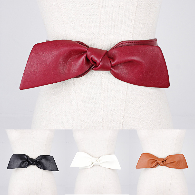 Fashion Solid Color Cummerbund Female Wide Waist Belt Big Bow For Clothes Accessories Women Black Red Belts Dress Adornment
