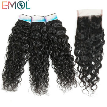 Emol Indian Water Wave Bundle With Closure Hair Bundle with Closure Free Part Non-Remy Human Hair 3/4 Bundle фото