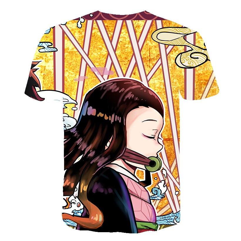 He5d2aa75b5eb410095d058fae5bbf135A Kids Boys Devils killer T-shirts 3d Print Cosplay Japanese Ghost blade Children Summer Short Sleeve Tshirts Demon Slayer Clothes
