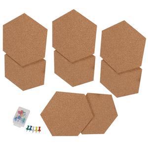 Image 1 - 8 piezas hexagonal corcho tableros foto Mensaje de auto adhesivo Fondo boletín mensaje pegatinas para casa y oficina